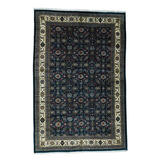 Shahbanu Rugs Blue Wool Hand-knotted Oversize Rug (12'1 x 18'4)