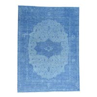 Shahbanu Rugs Hand-knotted Serapi Overdyed Blue Pure Wool Denim Rug (8'10 x 12'3)