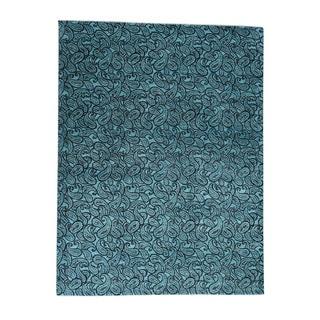 1800GetARug Blue Silk Paisley Hand-knotted Area Rug (9'4 x 12'3)