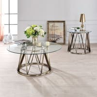Acme Furniture Perjan Clear Glass and Antique Brass Coffee or End Table