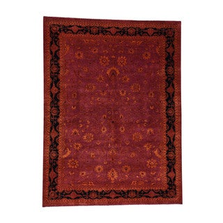 "1800getarug Tone On Tone Red Kashan Handmade Wool and Silk Oriental Rug (9'0""x12'0"")"