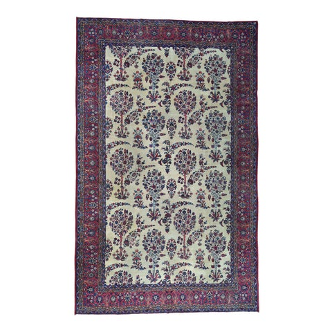 Shahbanu Rugs Antique Persian Kerman Ivory/ Red/ Blue Wool Gallery-size Rug (9'9 x 15'8)