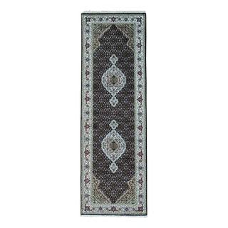 1800GetARug Handmade Tabriz Mahi Black Wool and Silk 250 Kpsi Runner Rug (2'6 x 10'1)