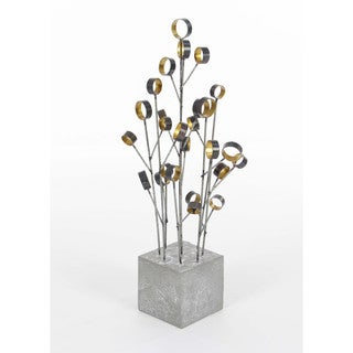Trendy Metal Cement Table Top Decor, Grey Gold