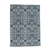 Shahbanu Rugs Hand-woven Black/ Grey Pure Wool Reversible Kilim Flat Weave Oriental Rug (5'1 x 7')