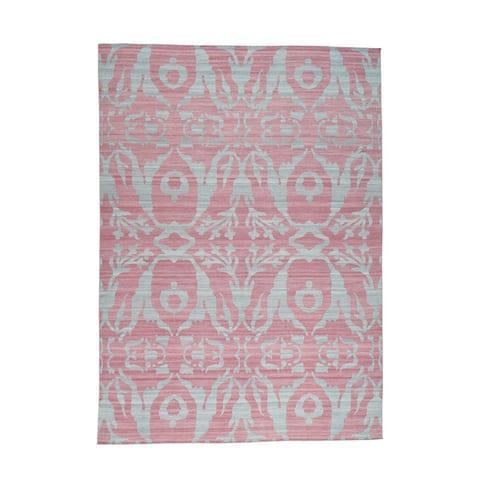 Shahbanu Rugs Hand-woven Pink/Grey Pure Wool Reversible Kilim Flat Weave Oriental Rug (10'0 x 14'0)