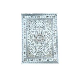 1800getarug Hand-Knotted Wool and Silk 250 Kpsi Ivory Nain Oriental Rug (8'10x12'0)