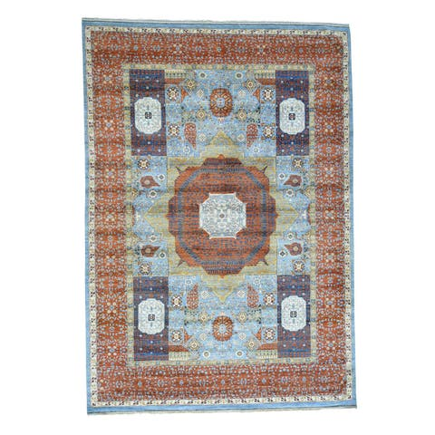 Shahbanu Rugs Blue Wool Hand-knotted Oriental Rug (10'1 x14'5)