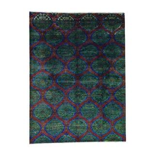 1800GetARug Multicolored Sari Silk Moughal Design Hand-knotted Rug (8'10 x 11'10)
