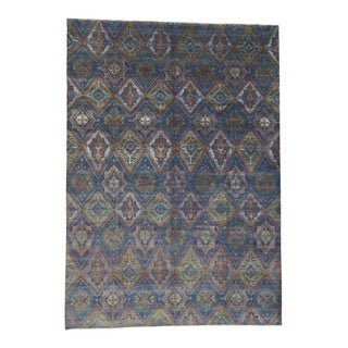 Shahbanu Rugs Hand-knotted Ikat Design Multicolor Wool and Silk Oriental Rug (9'10 x 14'0)