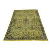 Shahbanu Rugs Hand-Knotted Gold Overdyed Tabriz Pure Wool Worn Oriental Rug (3'0x4'10)