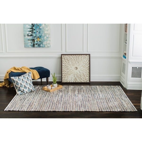 Jani Billy Tan/Blue Jute, Denim and Cotton Rug - 8' x 10'