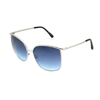 Mechaly Rectangle MES3303 Unisex Silver Frame with Blue Lens Sunglasses