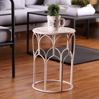 "17.9"" Indoor/Outdoor White Table and Plant Stand"