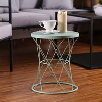"""15.9"""" Indoor/Outdoor Turquoise Table and Plant Stand"""