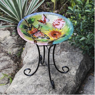 Shop Butterflies With Flowers Bird Bath With Stand On