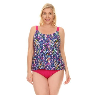 Dippin' Daisy's Blue Plaid Women's Over The Shoulder Tankini Set