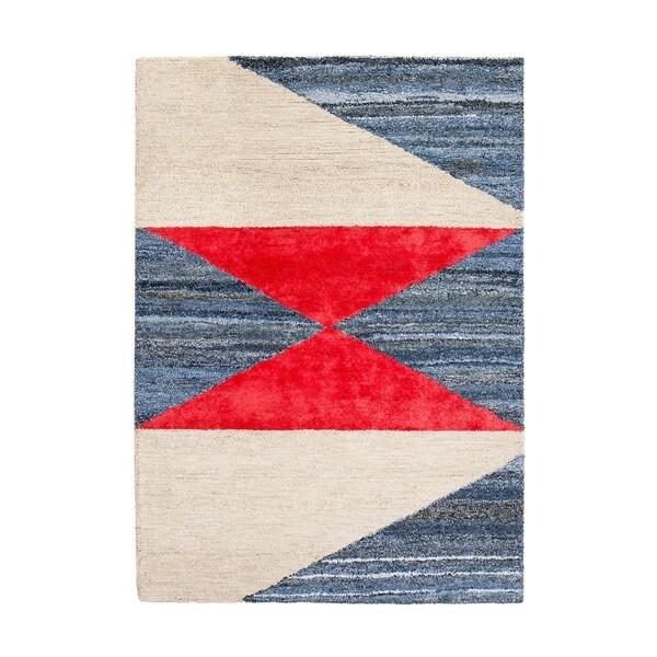 Jani Bravo Red/Blue Jute, Denim and Upcycled Fibers Rug