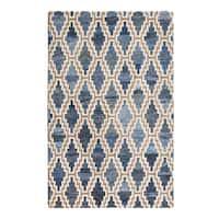 Jani Max Tan/Blue Jute, Denim and Upcycled Fiber Rug (8' x 10')