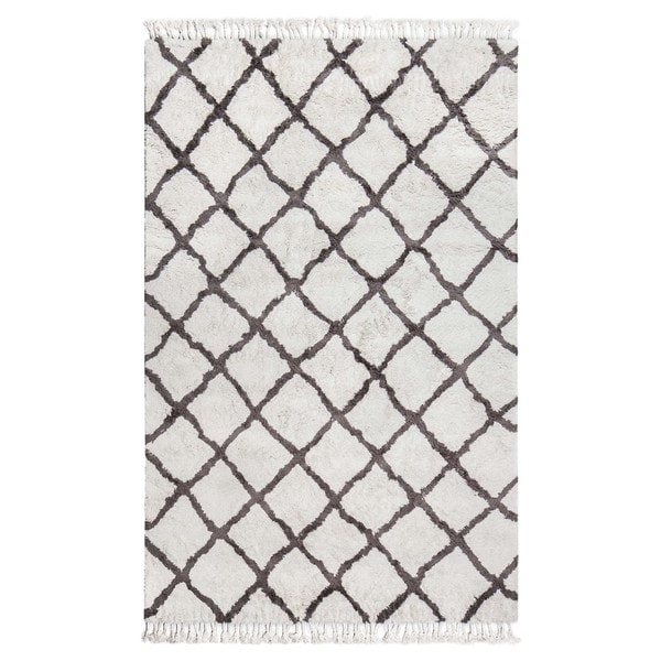 Jani Gabi Ivory/Grey Cotton and Viscose Shag Rug - 8' x 10'