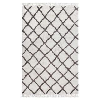 Jani Gabi Ivory/Grey Cotton and Viscose Shag Rug (8' x 10')