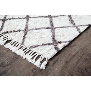 Jani Gabi Ivory/Grey Cotton and Viscose Shag Rug (5' x 8')