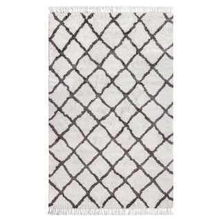 Jani Gabi Ivory/Grey Cotton and Viscose Shag Rug - 4' x 6'