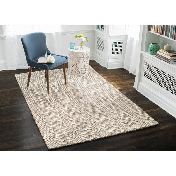 Jani Waves Tan and Ivory Jute and Upcycled Fiber Rug - 8' x 10'