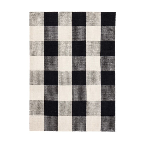 Jani Perry Black And Ivory Buffalo Plaid Jute Rug 5 X 8