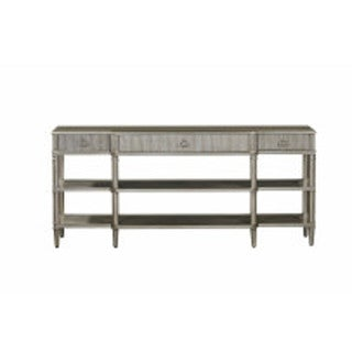 Bassett Mirror Company Vanesta Breakfront Glam Silver Wood Console Table