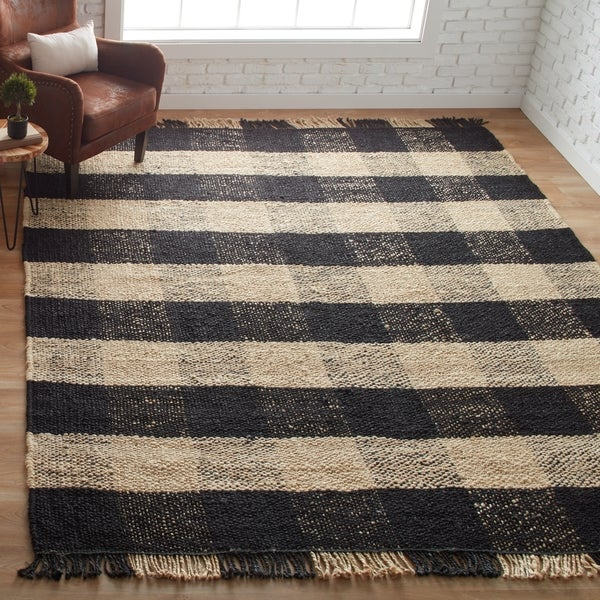 Jani Bluff Black And Ivory Plaid Jute Rug 8 X 10