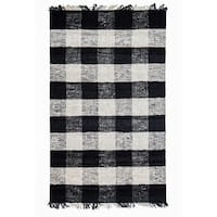 Jani Bluff Black and Ivory Plaid Jute Rug - 4' x 6'