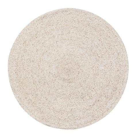 Jani Huma Ivory Upcycled Fiber and Cotton Round Rug