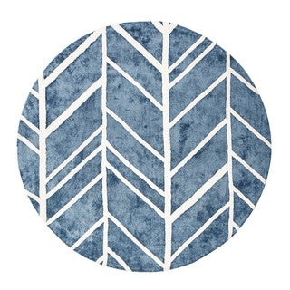 Jani Adi Blue and Ivory Viscose Round Rug
