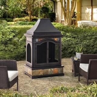 Sunjoy Monroe Slate Steel 32.68-inch x 22.24-inch x 53.15-inch Fireplace