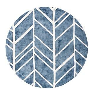 Jani Adi Blue Rayon from Bamboo Viscose Round Rug (6')