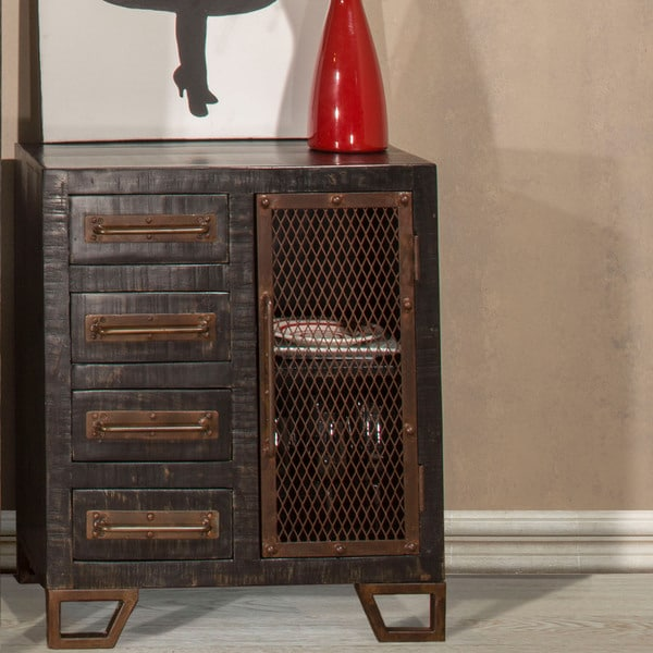 Hilale Furniture Bridgewater Black Metal And Wood Accent Cabinet