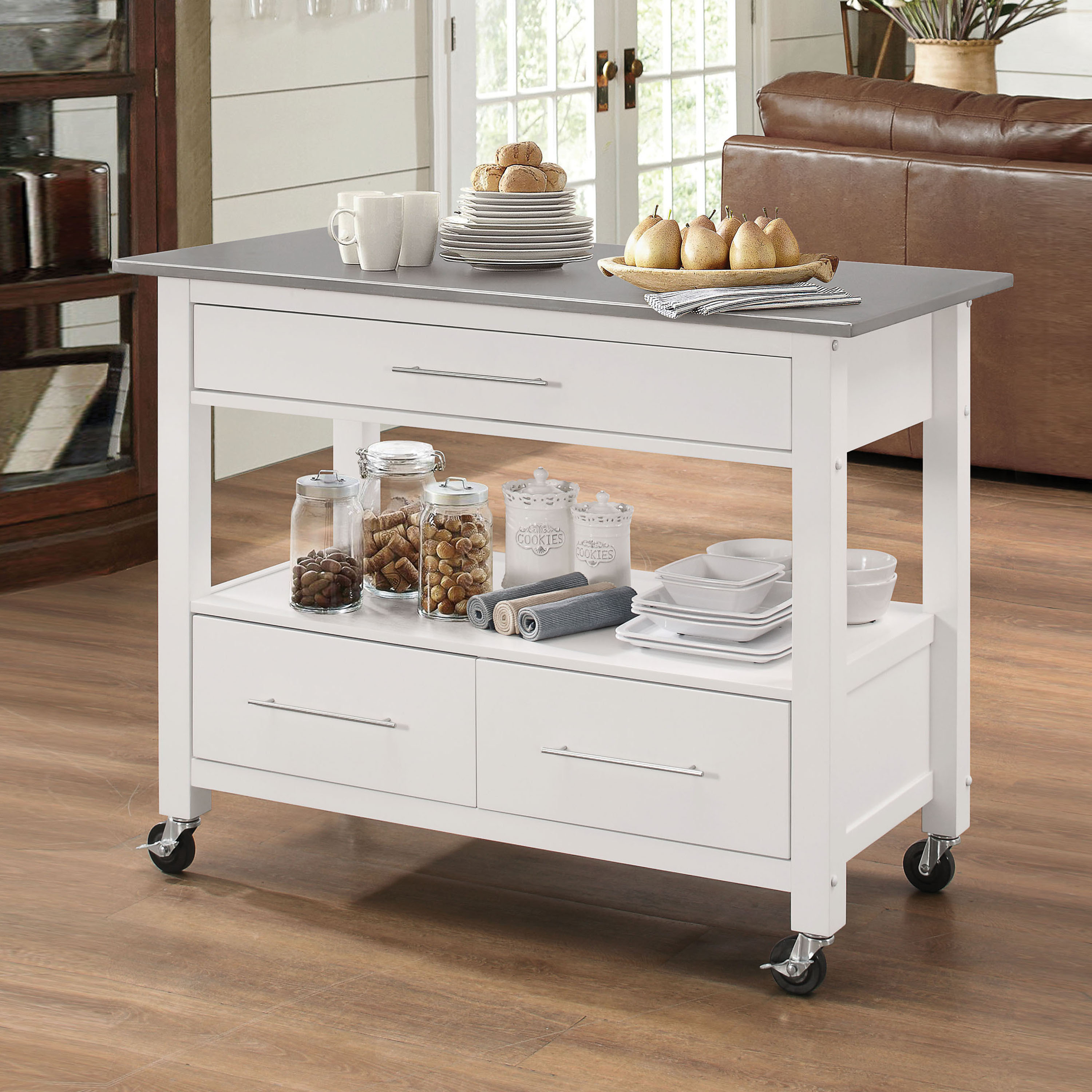 Havenside Home Saybrook Stainless Steel/White Kitchen Cart - Free ...
