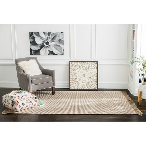 Jani Tasia Tan and Ivory Jute and Wool Rug - 9' x 12'