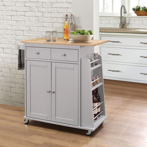 Acme Furniture Ottawa Natural/White Kitchen Cart