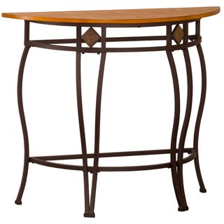 Hillsdale Furniture Lakeview Medium Oak Wood, Coppery Brown Metal and Dynamic Slate Console Table