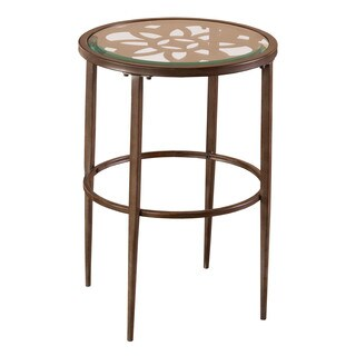The Curated Nomad Harriet Grey and Brown Glass End Table