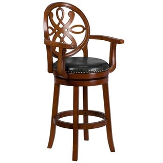 30-inch High Wood Barstool with Arms and Leather Swivel Seat