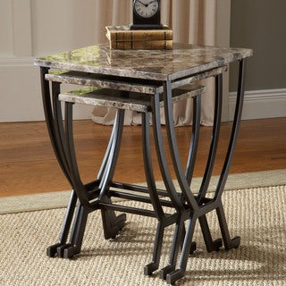 Hillsdale Furniture Monaco Matte Espresso Metal Faux Marble Nesting Tables