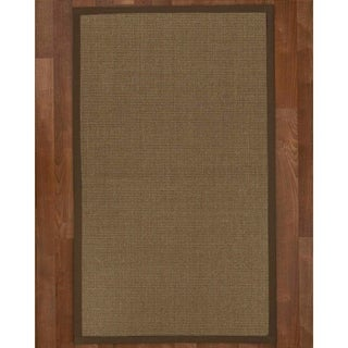 Handcrafted Linden Natural Sisal Rug - Brown Binding, 8' x 10'
