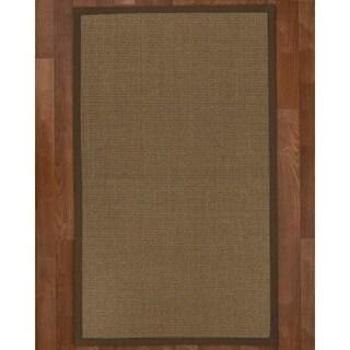 Handcrafted Linden Natural Sisal Rug - Brown Binding, 9' x 12' with Bonus Rug Pad