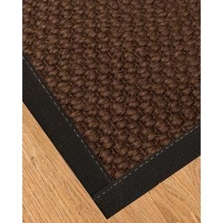 Handcrafted Talas Natural Sisal Rug Black Binding 9' x 12' with Bonus Rug Pad