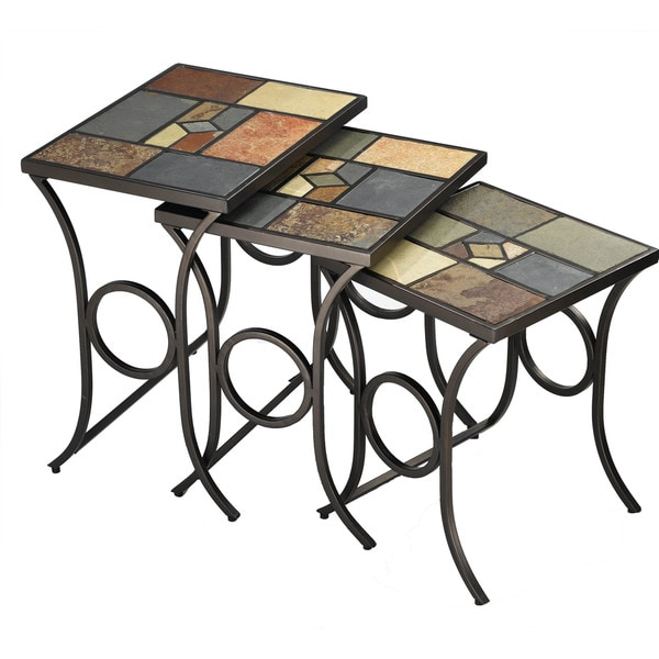 Hilale Furniture Pompeii Nesting Tables In Black Gold Metal With Slate Mosaic Finish