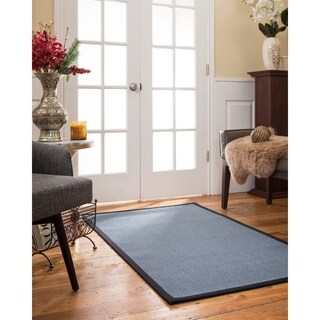 Handcrafted Cortona Natural Sisal Rug - Midnight Blue Binding 2'6 x 8'