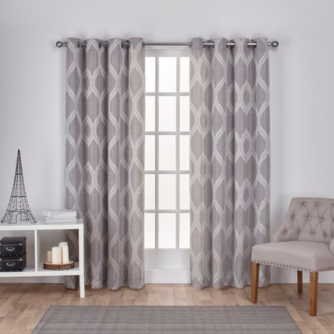 The Curated Nomad Carlton Jacquard Grommet Top Curtain Panel Pair